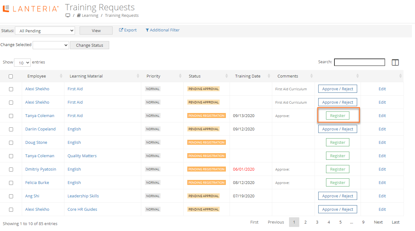 Manage Training Requests In The Manage Role